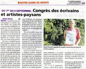 Les écrivains et artistes-paysans à Notre-Dame de Monts du 1 au 4 09 2015